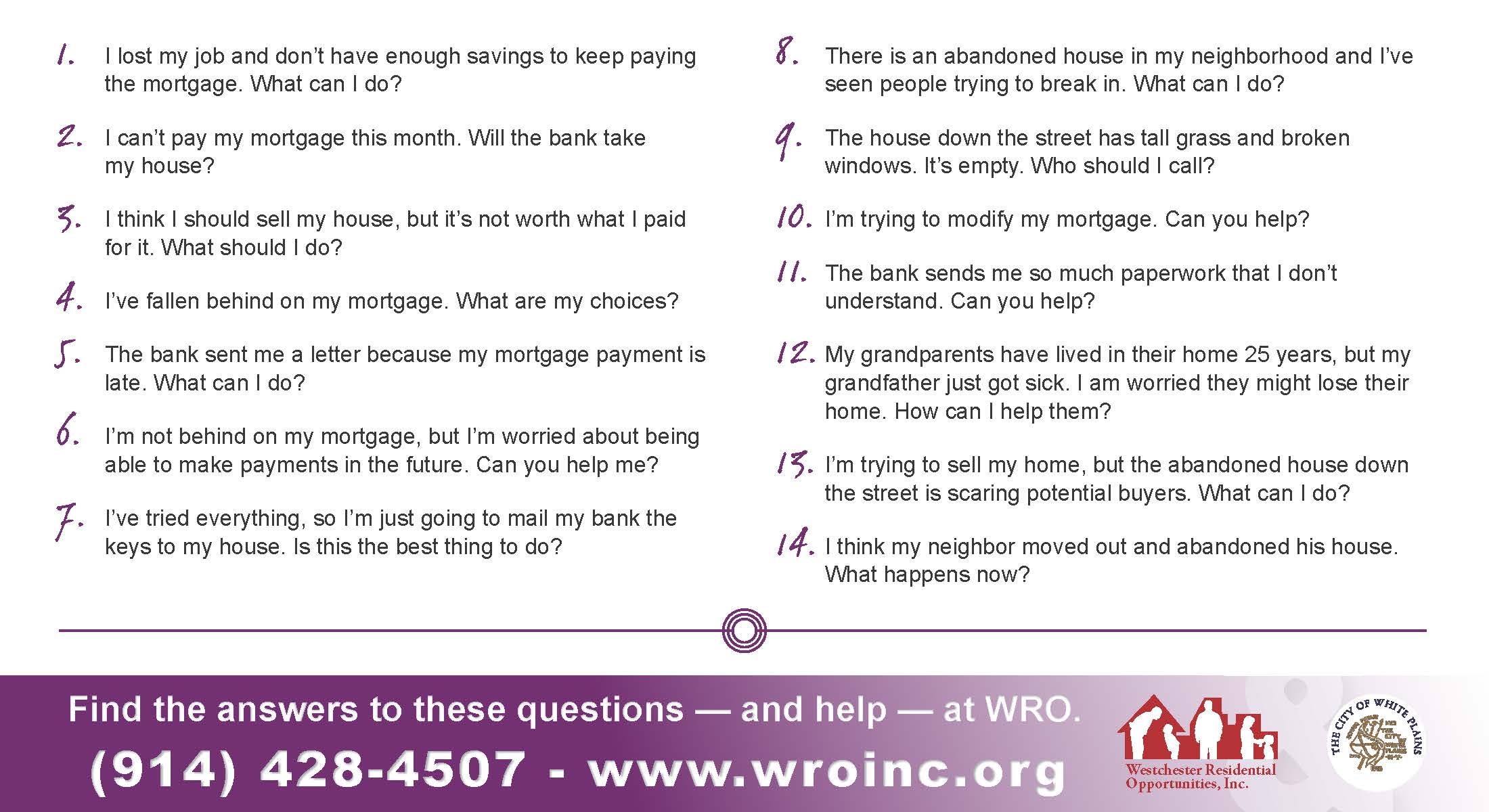 Mortgage assistance flyer