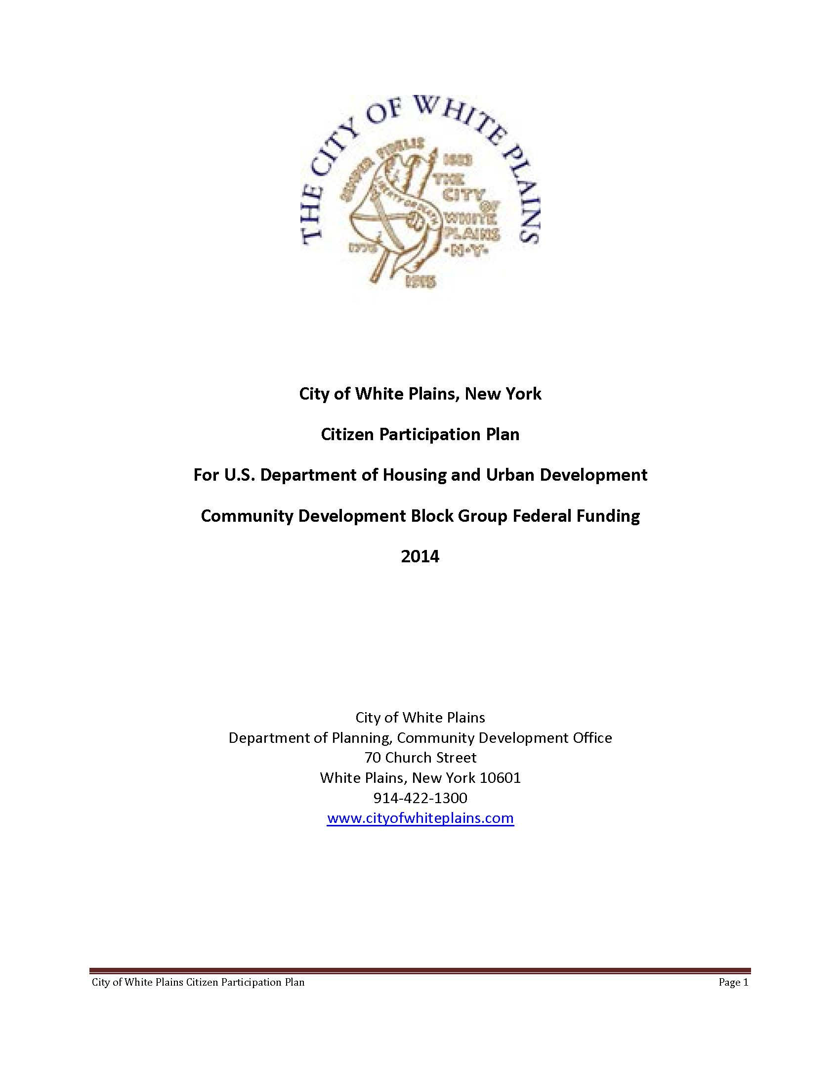 2014: White Plains Citizen Participation Plan Select-able Report Cover