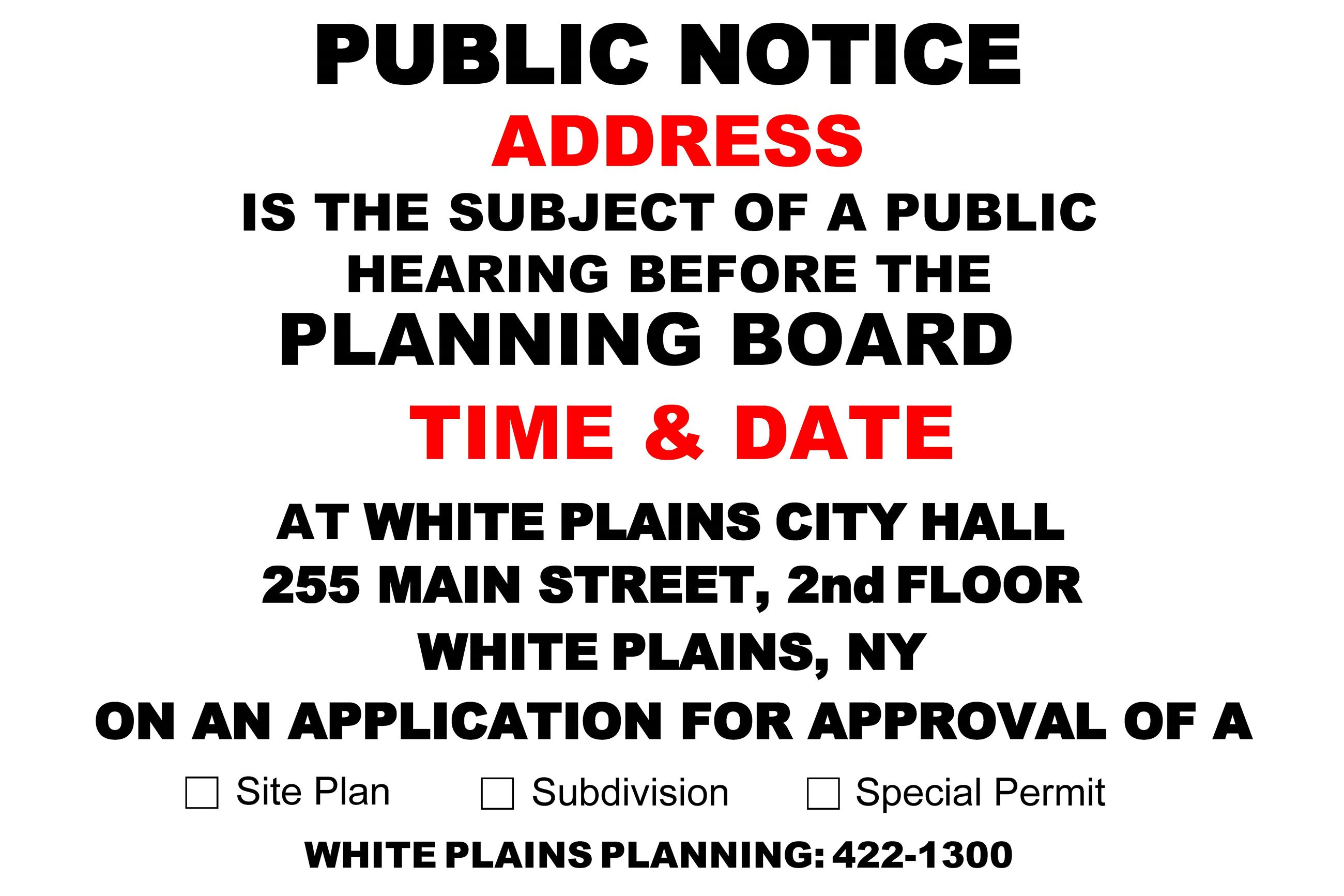 Planning Board PUBLIC NOTICE Fillable Sign