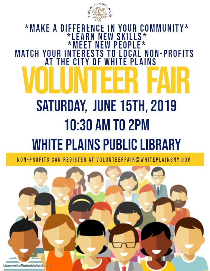 City of White Plains Volunteer Fair June 15th - with city seal
