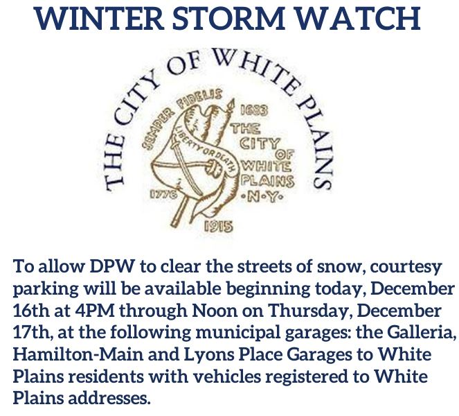 Winter storm watch dec 16 added info regarding wp residents wp registration