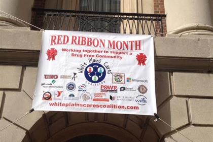 red ribbon whiteplains cares coalition banner