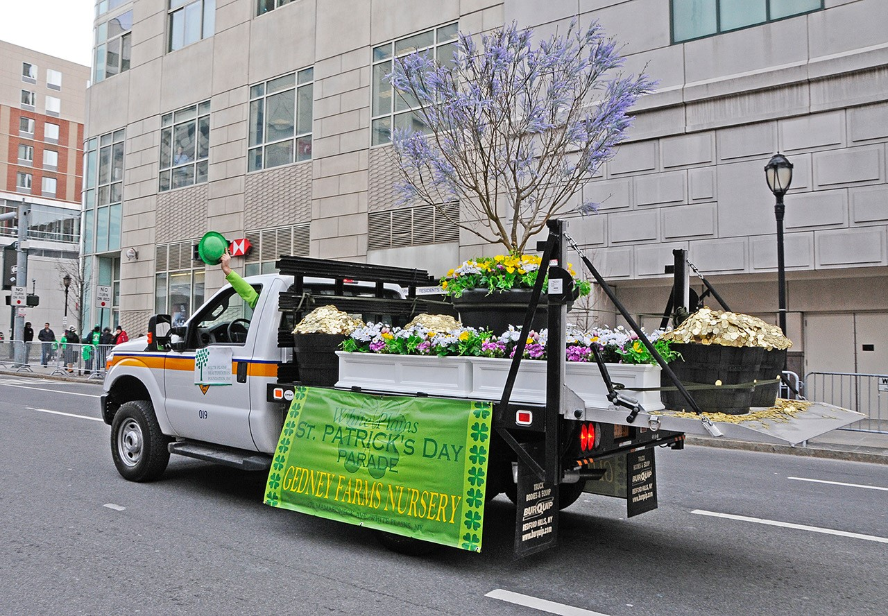 2017 St. Patricks Day parade Gedney Farms float